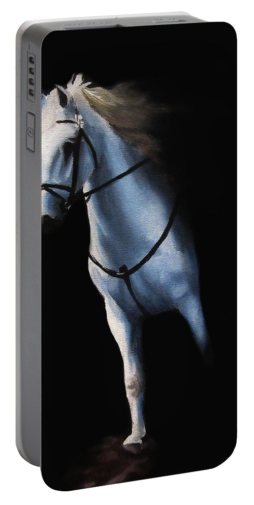 Stepping Portable Battery Charger featuring the painting Stepping Into The Spotlight by Kayleigh Semeniuk