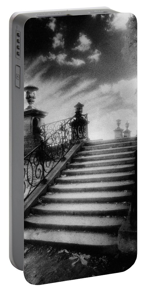French Architecture; Outdoors; Staircase; Balustrade Portable Battery Charger featuring the photograph Steps At Chateau Vieux by Simon Marsden