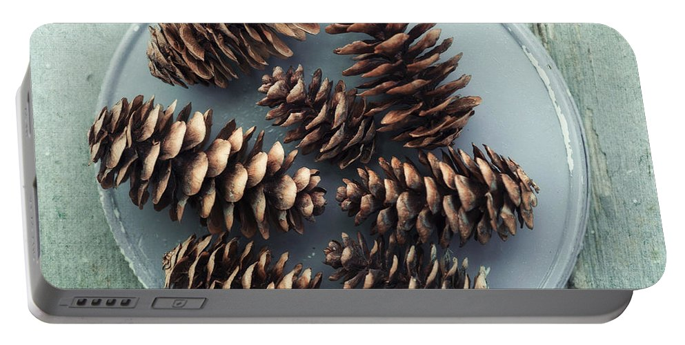 Pinecone Portable Battery Charger featuring the photograph Stil Life With Seven Pine Cones by Priska Wettstein