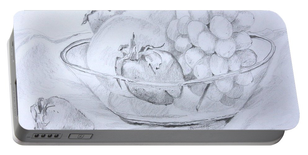 Drawing Portable Battery Charger featuring the drawing Still Life With Fruit by Jan Bennicoff