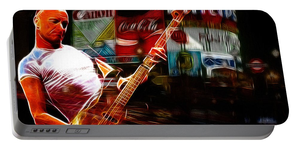 Sting Music Man Male Famous Star Police Gordon Rocks Rock Pop London Piccadilly Circus Neon Light Guitar Hero Playing Rocking Lights Bus Underground City Cityscape Portable Battery Charger featuring the painting Sting In Concert by Steve K