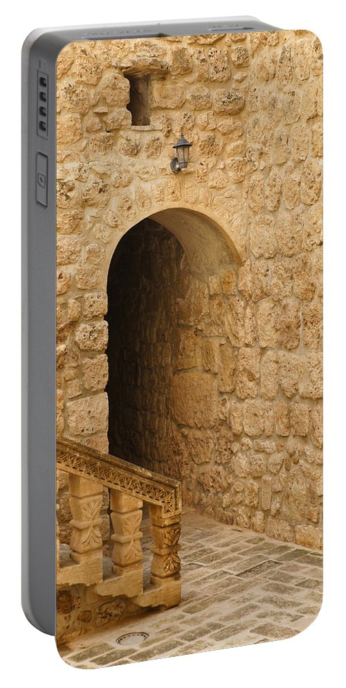 Turkey Portable Battery Charger featuring the photograph Stone Arch And Stairway by Michele Burgess
