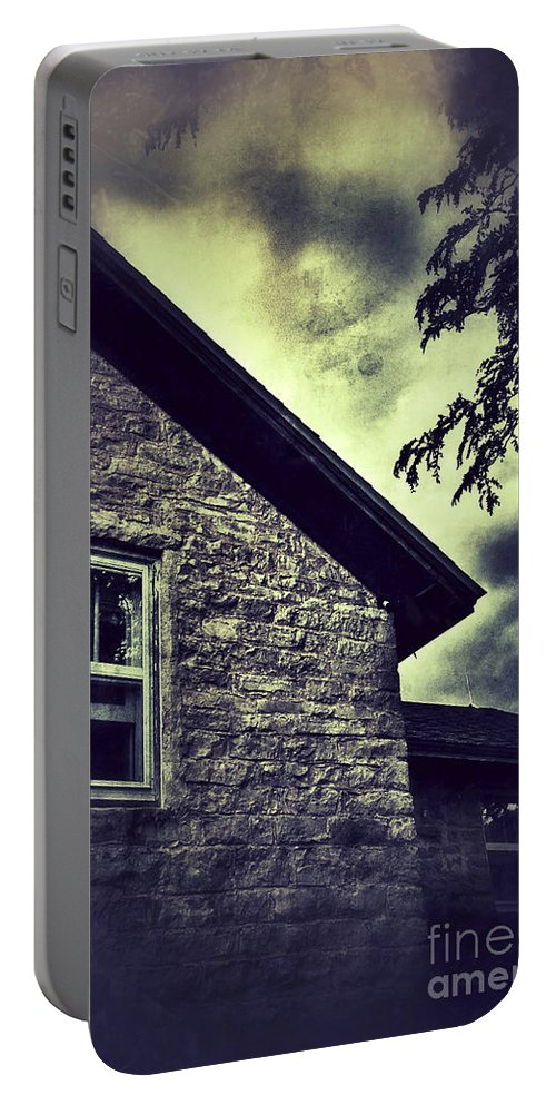 House Portable Battery Charger featuring the photograph Stone House In Storm by Jill Battaglia