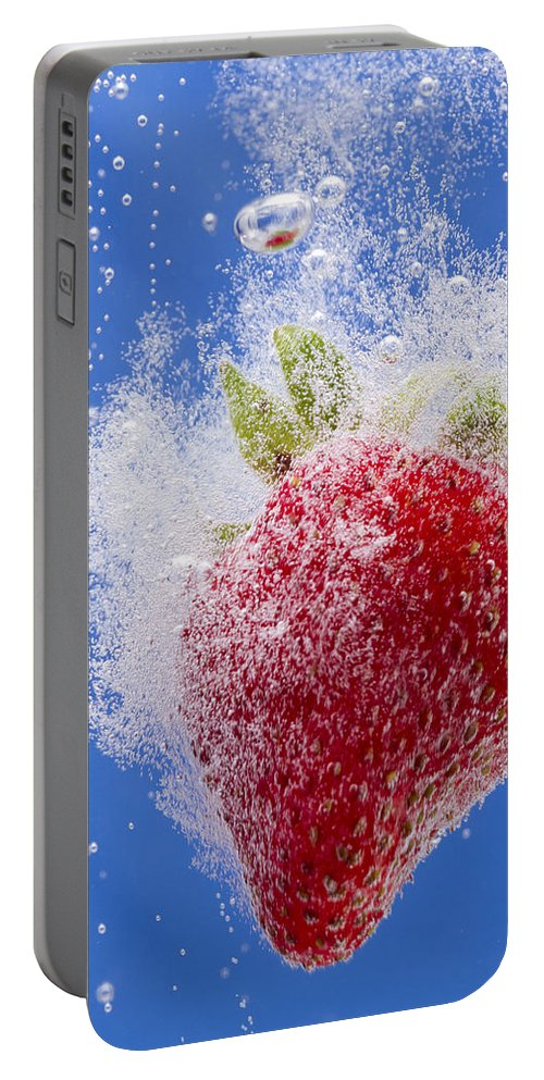 Red Portable Battery Charger featuring the photograph Strawberry Soda Dunk 1 by John Brueske