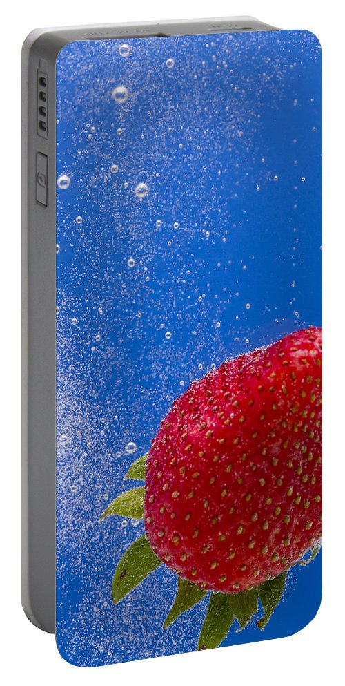 Red Portable Battery Charger featuring the photograph Strawberry Soda Dunk 4 by John Brueske