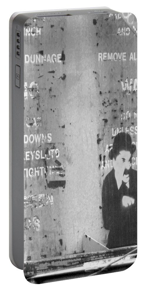 The Little Tramp Portable Battery Charger featuring the photograph Street Graffiti Art - The Little Tramp Bw by Kathleen Grace