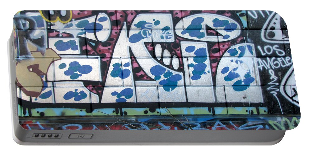 Wall Graffiti Portable Battery Charger featuring the photograph Street Graffiti - Tubs II by Kathleen Grace