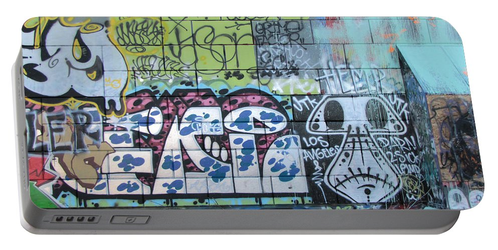 Wall Graffiti Portable Battery Charger featuring the photograph Street Graffiti - Tubs Let Loose by Kathleen Grace