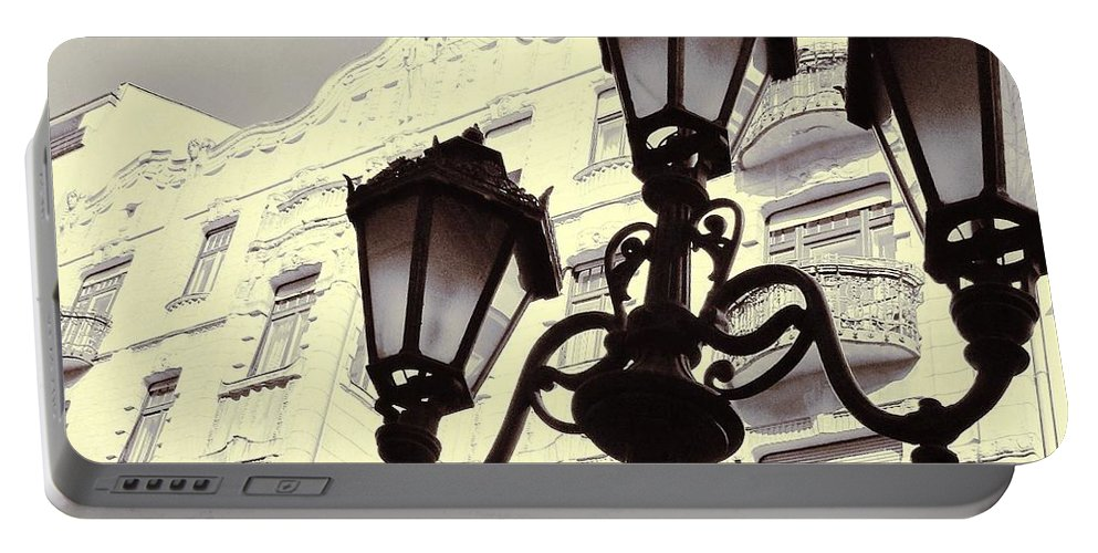 Street Portable Battery Charger featuring the photograph Street Lamps Of Budapest Hungary by Marianna Mills