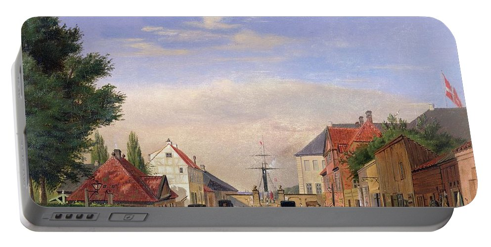 Harbour; Shop; Carriage; Cattle Portable Battery Charger featuring the painting Street Scene by Danish School