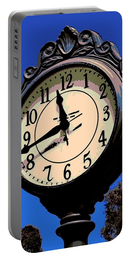 Street Clock Portable Battery Charger featuring the photograph Street Time by George Pedro