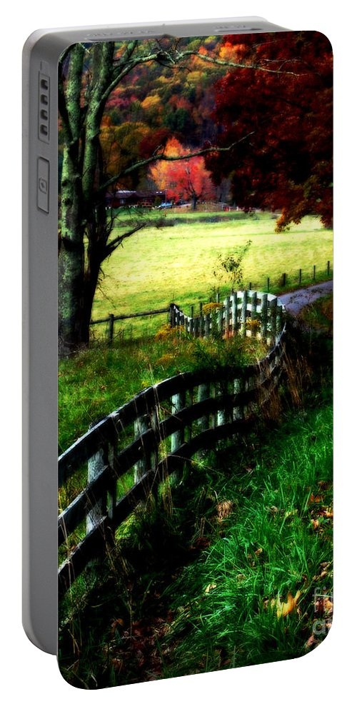 Fall Portable Battery Charger featuring the digital art Strolling Down The Old Country Road by Lj Lambert