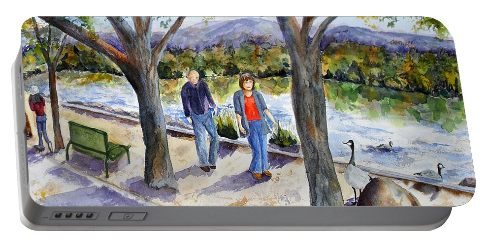 Strolling Portable Battery Charger featuring the painting Strolling Virginia Lake by Vicki Housel
