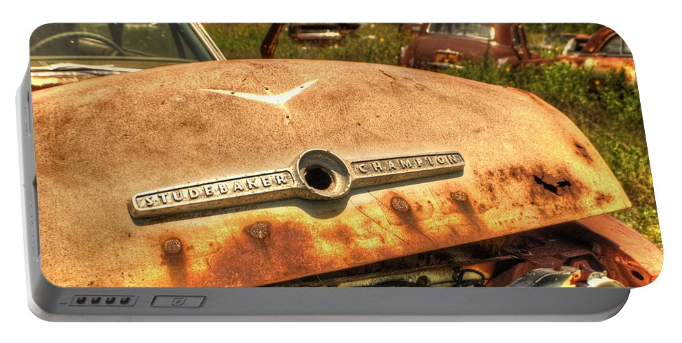 Automobiles Portable Battery Charger featuring the photograph Studebaker Champion by Beth Gates-Sully