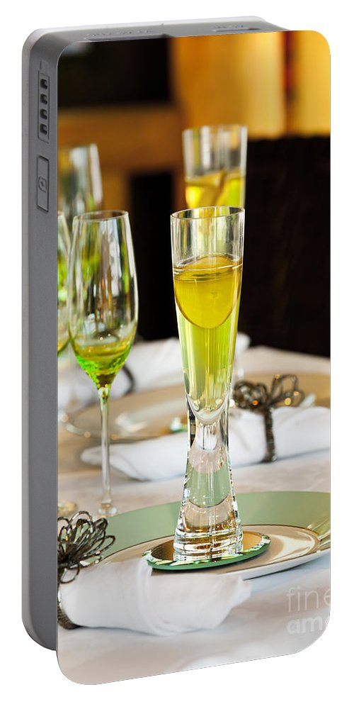 Stylish Dining Table Arrangement Close Up Portable Battery Charger featuring the photograph Stylish Dining Table Arrangement by Simon Bratt Photography LRPS