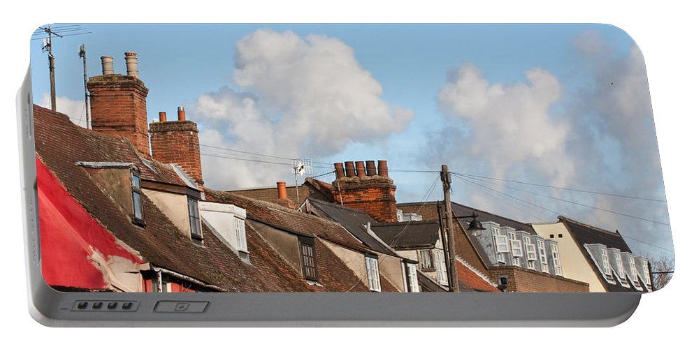 Aeriel Portable Battery Charger featuring the photograph Suffolk Rooftops by Tom Gowanlock