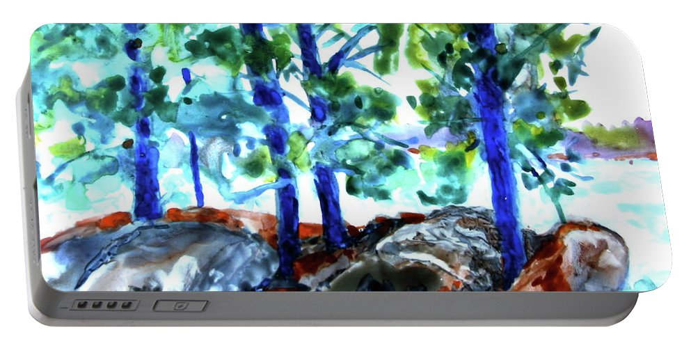 Landscape Portable Battery Charger featuring the painting Summer by the Lake by Jan Bennicoff