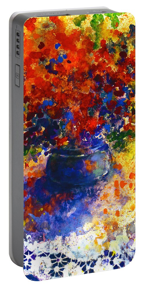 Watercolor Flowers Painting Portable Battery Charger featuring the painting Summer Flowers by Svetlana Novikova