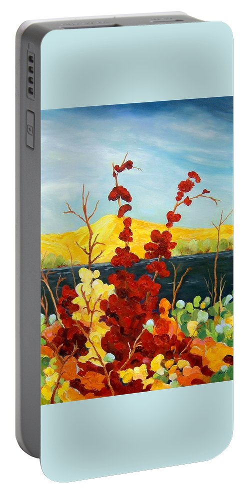 Floral Portable Battery Charger featuring the painting Summer Foliage by Rose Lynch