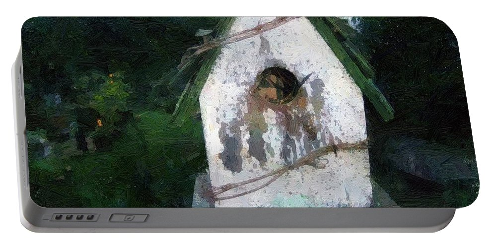 Birdhouse Portable Battery Charger featuring the painting Summer Night With Birdhouse by RC DeWinter