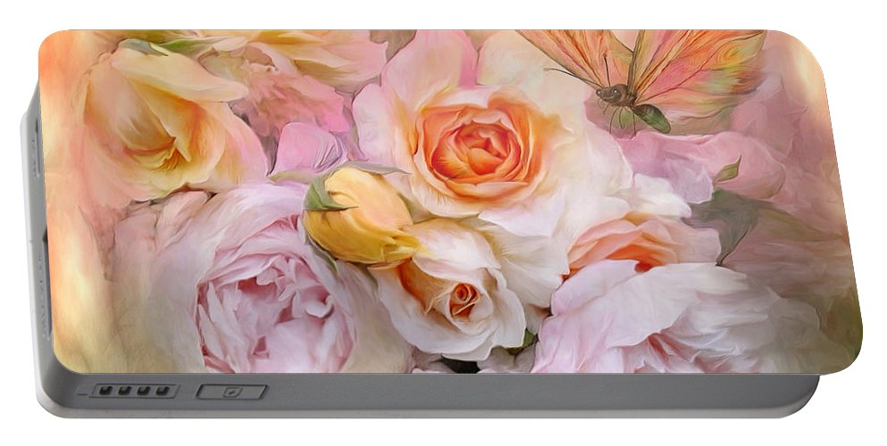 Roses Portable Battery Charger featuring the mixed media Summer Roses by Carol Cavalaris