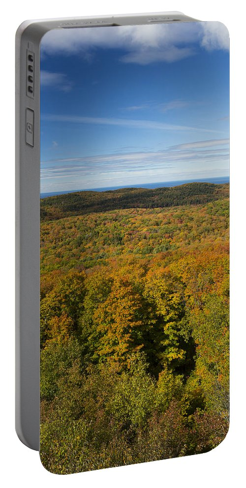 Summit Portable Battery Charger featuring the photograph Summit Peak Autumn 14 by John Brueske