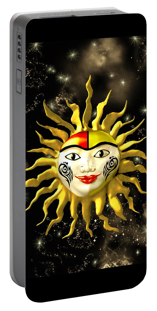 Sun Face Portable Battery Charger featuring the painting Sun Face by Methune Hively