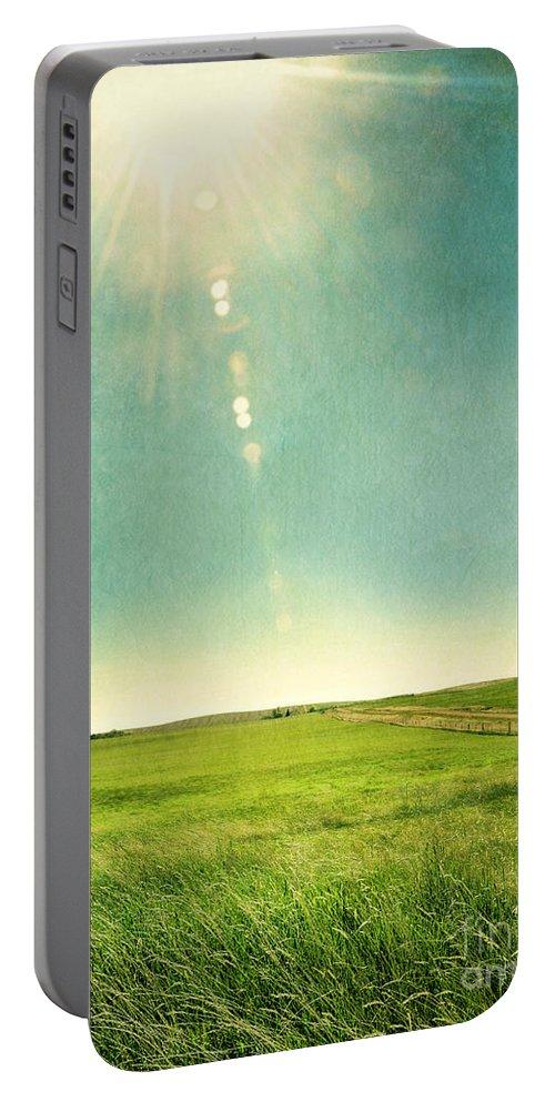 Grass Portable Battery Charger featuring the photograph Sun Over Field by Jill Battaglia