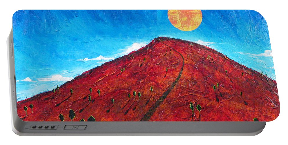 Landscape Portable Battery Charger featuring the painting Sun Over Red Hill by Rollin Kocsis