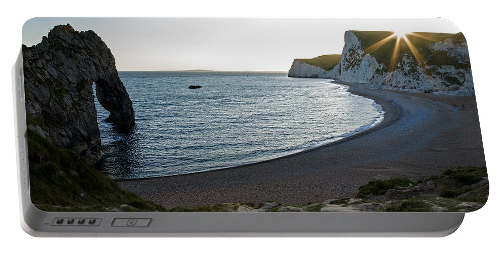 Durdle Portable Battery Charger featuring the photograph Sundown At Durdle Door by Ian Middleton