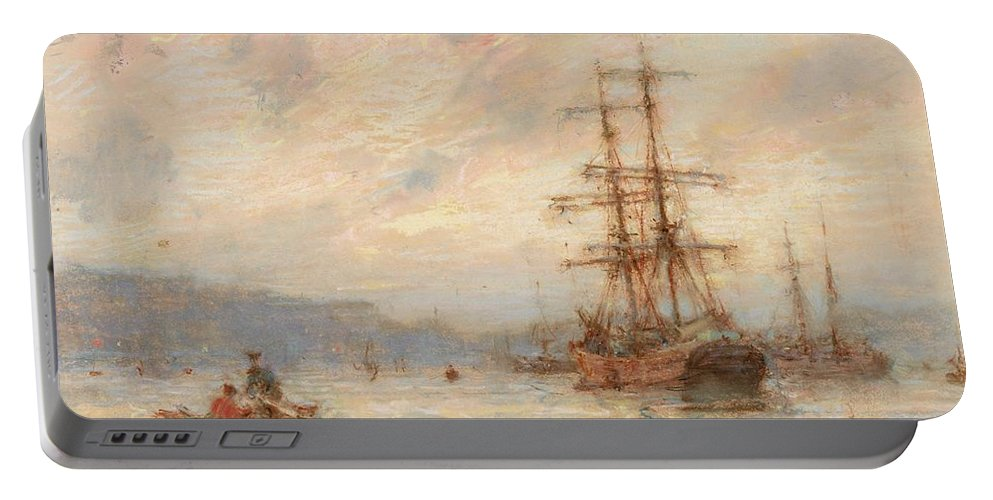Sea; C19th; C20th; Sailing Ship; Rowing Boat; Boats; Seascape; Shipping; Ships; Masts; Mast; Silhouette; Henry Scott Tuke Portable Battery Charger featuring the painting Sundown by Henry Scott Tuke
