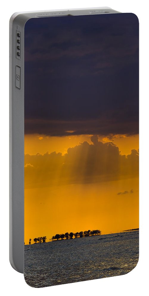 Beach Portable Battery Charger featuring the photograph Sundown Over Sanibel by Ed Gleichman