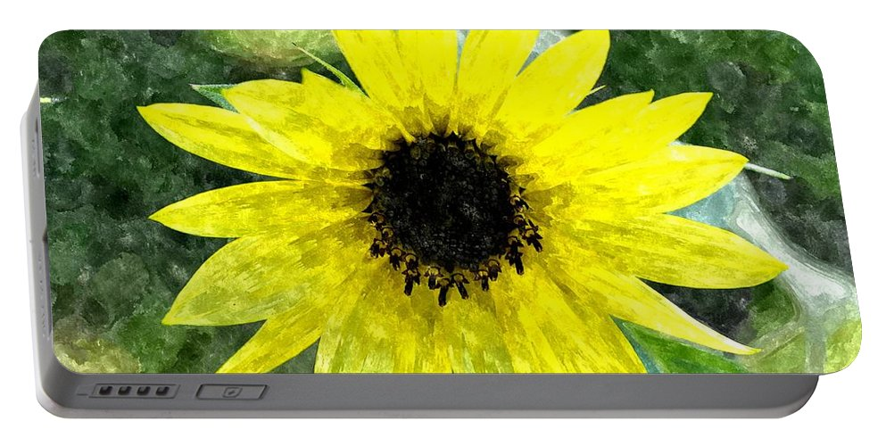 Sunflower Portable Battery Charger featuring the digital art Sunflower 5 Sf5wc by Jim Brage