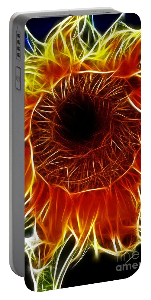 Fine Art Photography Portable Battery Charger featuring the photograph Sunflower Fractal by Donna Greene