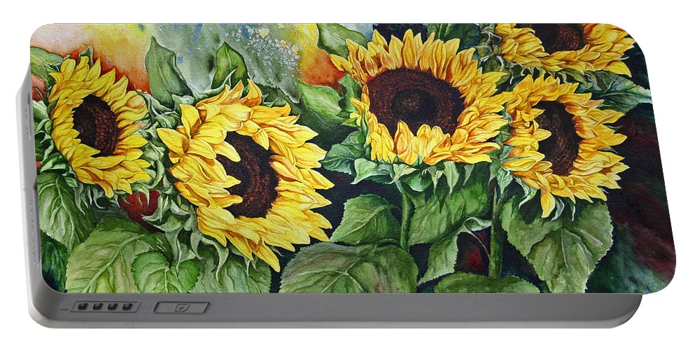 Flower Portable Battery Charger featuring the painting Sunflower Serenade by Ilene Paulsen