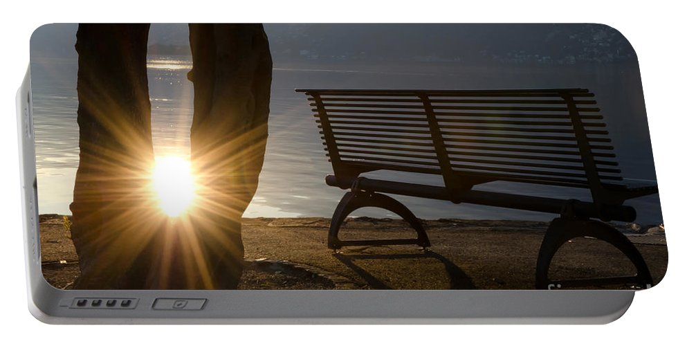 Bench Portable Battery Charger featuring the photograph Sunlight And Bench by Mats Silvan