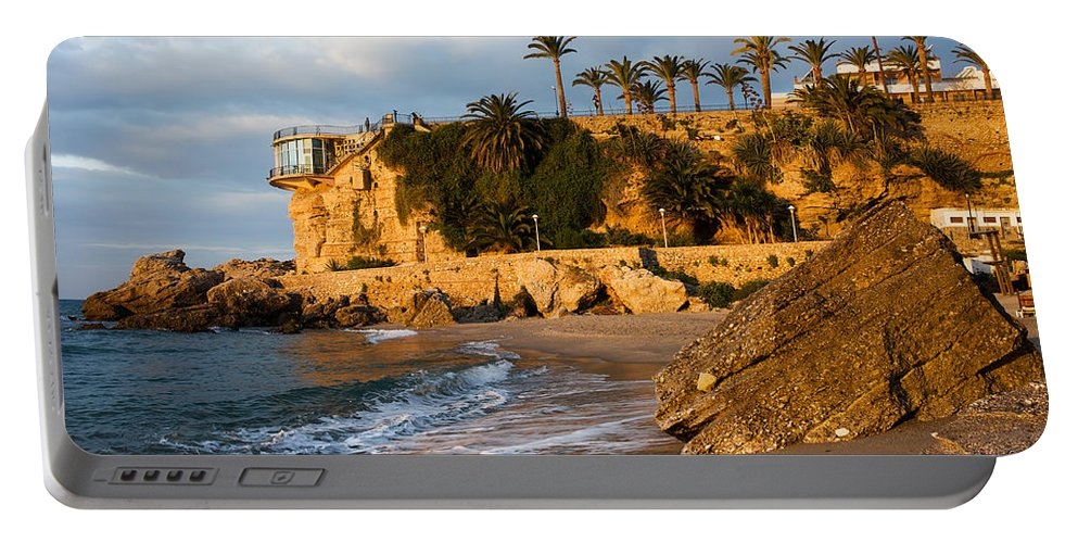 Costa Portable Battery Charger featuring the photograph Sunrise At Balcon De Europa In Nerja by Artur Bogacki