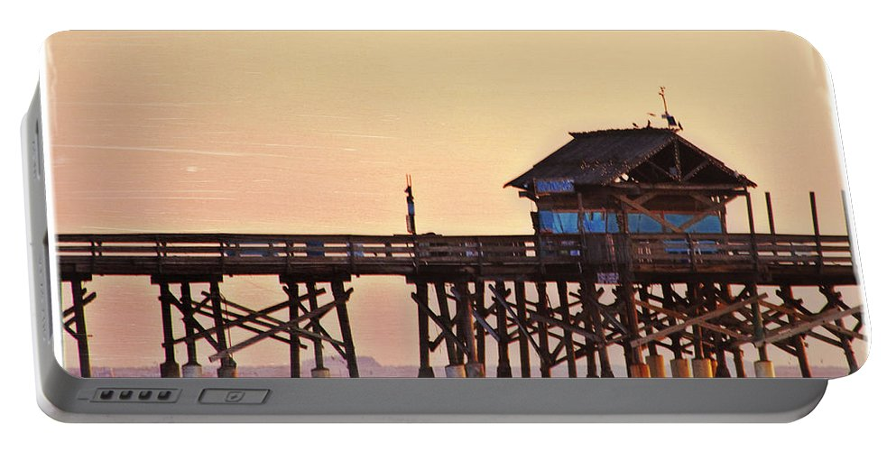 Sunrise Portable Battery Charger featuring the photograph Sunrise On Rickety Pier by Janie Johnson