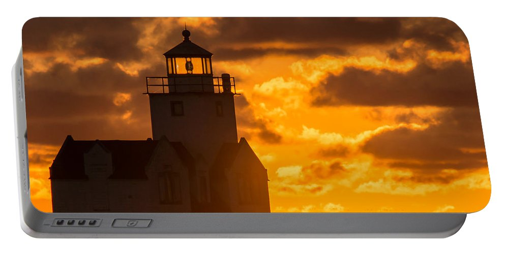 Lighthouse Portable Battery Charger featuring the photograph Sunrise Pier Fishermen by Bill Pevlor