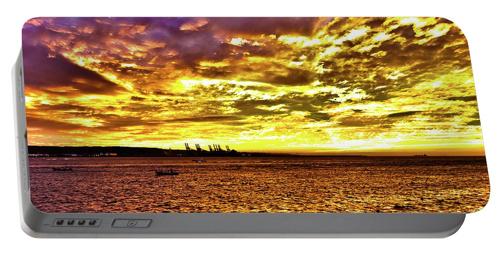 Hdr Portable Battery Charger featuring the photograph Sunset At Danshui Hdr by Pam Fong