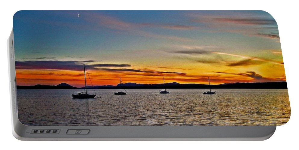 North America Portable Battery Charger featuring the photograph Sunset At Lake Memphremagog - Qc by Juergen Weiss