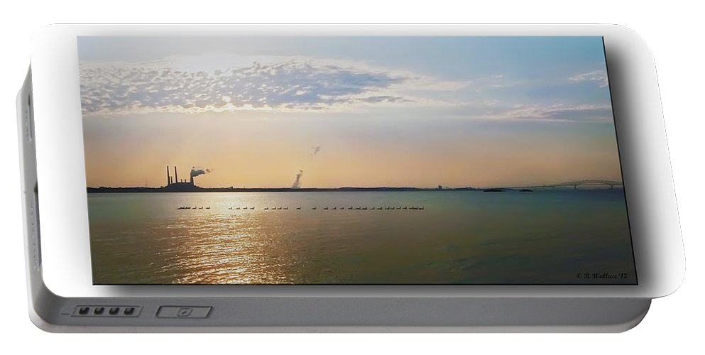 2d Portable Battery Charger featuring the photograph Sunset Geese by Brian Wallace