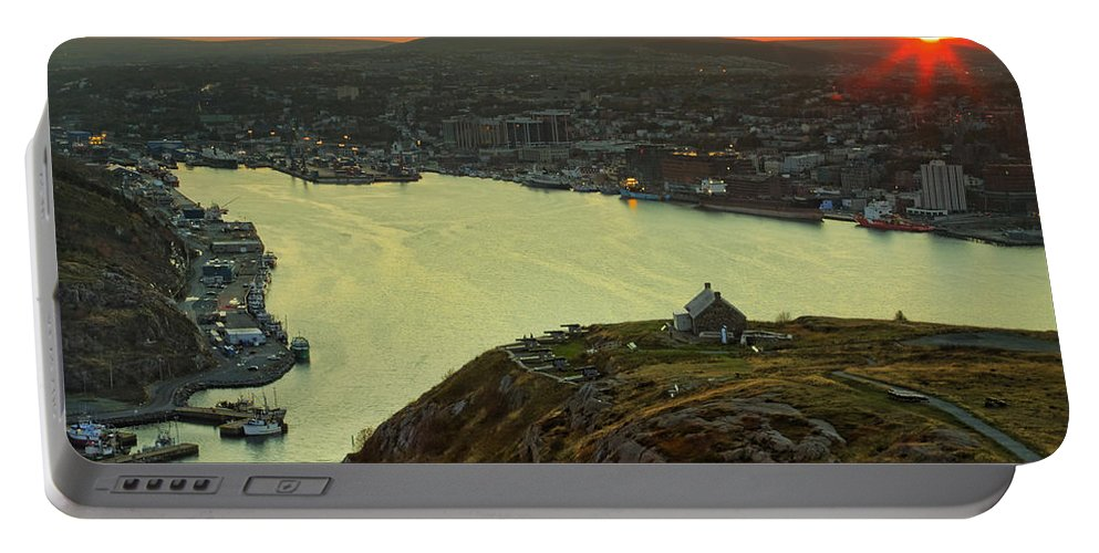 Canada Portable Battery Charger featuring the photograph Sunset On St. John's Harbour by Phill Doherty