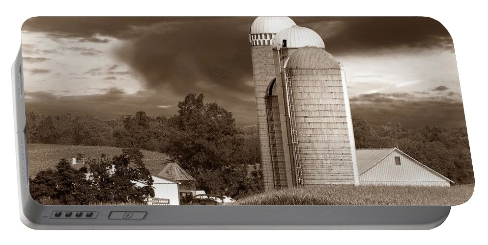 Farm Portable Battery Charger featuring the photograph Sunset On The Farm S by David Dehner