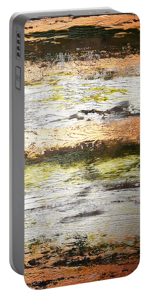 Gold Portable Battery Charger featuring the painting Sunset On The River by Julie Niemela