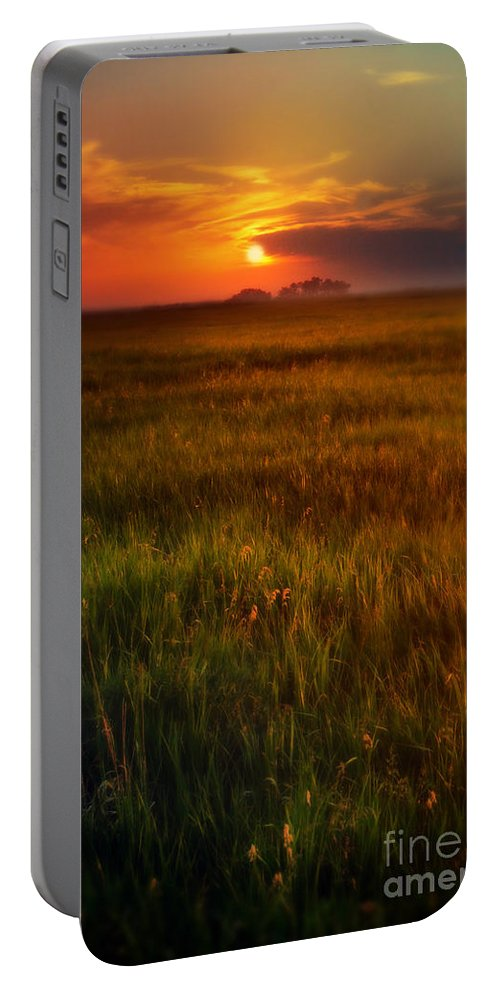 Sky Portable Battery Charger featuring the photograph Sunset Over Field by Jill Battaglia