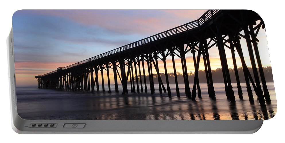 Pier Portable Battery Charger featuring the photograph Sunset Pier San Simeon California 2 by Bob Christopher