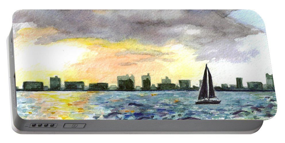 City Scape Portable Battery Charger featuring the painting Sunset Sail by Clara Sue Beym