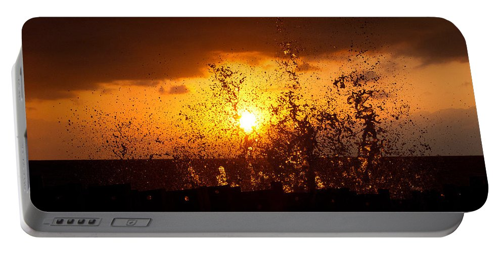 Sun Portable Battery Charger featuring the photograph Sunset Splash 2 by Bill Lindsay