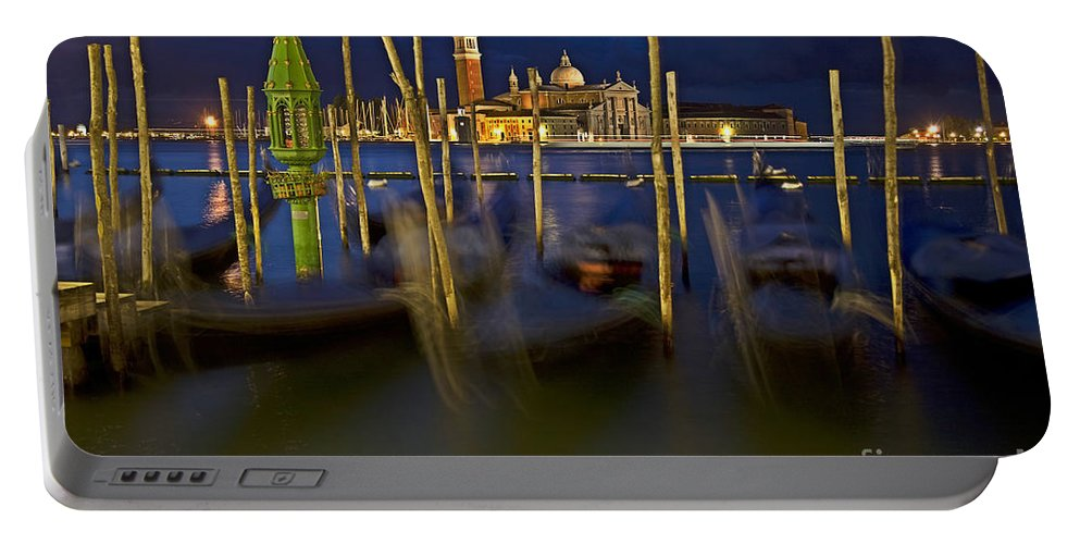 Venice Portable Battery Charger featuring the photograph Swaying Gondolas by Heiko Koehrer-Wagner